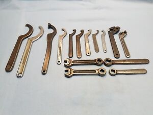 Huge Lot 15 Hook Vintage Spanner Wrenches Armstrong Jh Williams