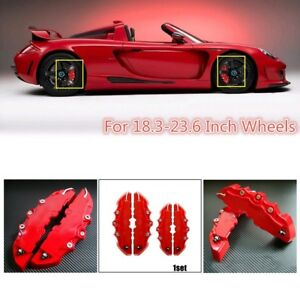 2 Pairs 3d Red Front Rear Car Auto Universal Disc Brake Caliper Covers Useful