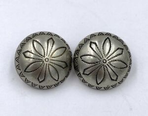 Antique Sterling Silver Buttons Set Of 2
