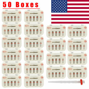 50kits Dental Fiber Post Resin High intensity Screw Thread Quartz Drills A red