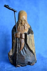 Antique Chinese Shou Lao Long Life Hand Carved Wooden Deity Buddha Figure