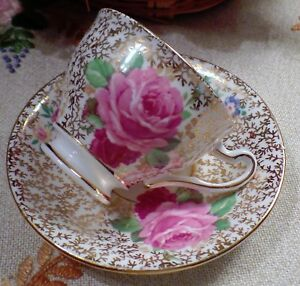 Vintage Clare Bone China Made In England Chintz Teacup Saucer Cabbage Roses