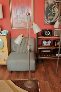 Vintage Atomic Mcm Floor Lamp With 3 Metal Cone Lights 60 Tall