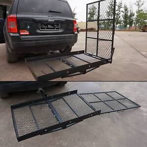 Steel Wheelchair Trailer Hitch Mount Mobility Carrier Cargo Lift W Ramp Mount