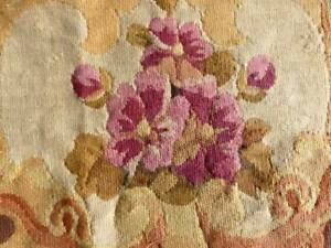 Precious Large 19thc French Floral Aubusson Tapestry Fragment Flowers 30x30 A
