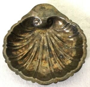 Friedman Silverplate Silver Clam Shell Candy Dish Bowl Dragon Crest Nautical