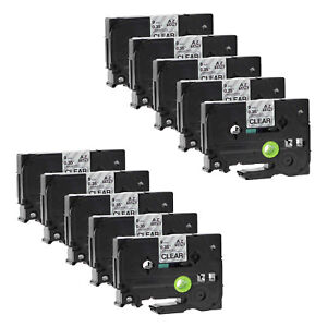 10pk Tz121 Tze121 Black On Clear Label Tape For Brother P touch Pt 1400 9mm 3 8