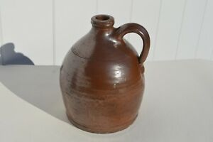 Antique Primitive Small American New England Glazed Redware Pottery Whiskey Jug