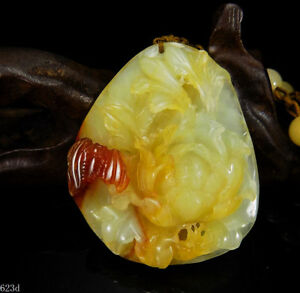 100 Natural Hand Carved Jade Pendant Jadeite Necklace Bat Peony Flower 623d