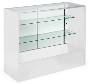 48 White Retail Store Counter Display Showcase W Adjustable Glass Shelves