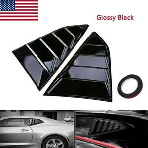 Glossy Black Side Window 1 4 Quarter Louver Cover Vents For Chevy Camaro Coupe