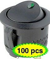 100 X Green Led Rocker Switch 12v Round Toggle On Off