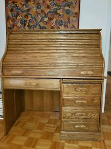 Antique Author S Roll Top Desk Vintage Mahogany Oak Solid Wood Amish Furniture