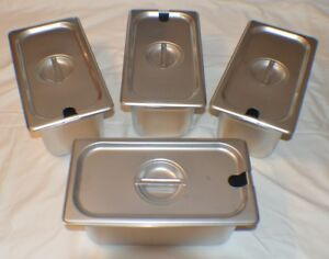 4 1 3 Size Stainless Steel Steam Prep Table Pan W lids 12 3 4 X 7 X 6 Deep