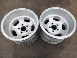2 15x10 Ansen Style Aluminum Slot Wheels Pair Mags Chevy Slots Rat Rod 5x4 75