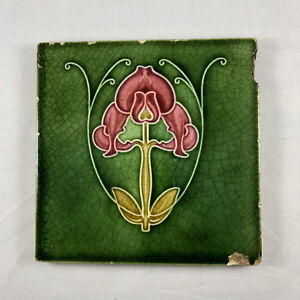Vintage Art Tile Art Nouveau Arts And Crafts Green Glazed Tile