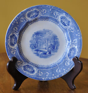 Lovely Antique Ironstone Blue Transferware Staffordshire Toddy Plate Castle
