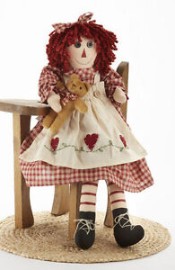 New Primitive Country Rustic Raggedy Girl Doll W Teddy Bear Red Heart Dress