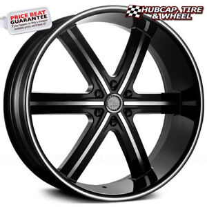 U2 55b m Black Machined Milled Lip 24 x10 Custom Wheels Rims set Of 4