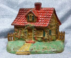Antique National Foundry Cottage With Picket Fence Cast Iron Door Stop