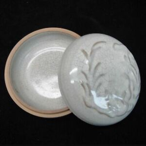 Fine Old Chinese Ge Kiln Celadon Porcelain Round Box With Cover Mark