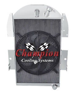 3 Row Atom Radiator W 16 Fan For 1934 1935 1936 Chevy Pickup Factory 6 Cyl Eng