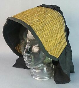 Antique Victorian 1800 S Era Woven Wicker Straw Style Black Mourning Hat
