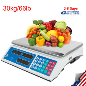 66lb 30kg Digital Weight Scale Price Computing Food Meat Produce Deli Market Us