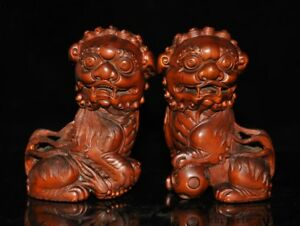 5 Old Chinese Boxwood Wood Feng Shui Hand Carved Lion Beast Foo Dog Statue Pair