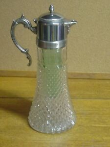 Vintage Crystal Glass Silver Plate Decanter Pitcher W Green Ice Insert