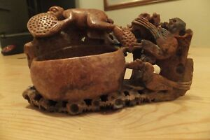 Chinese Carved Soap Stone Brush Pen Pot Vase