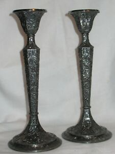 Rare Silver Plate Ornate Candlesticks Made By Derby 10 1 2 Tall