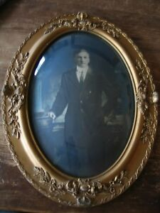 Antique Large Ornate Oval Gilt Gesso Picture Frame Convex Bubble Glass