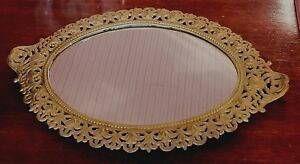 Antique Oval Plateau Wall Mount Mirror Gold Gilt Cast Iron Frame 13 W X 18 L