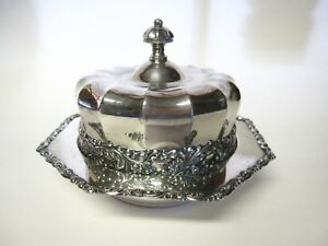 Fluted Silverplate Cheese Butter Dish Round W Lid Rogers Smith Co Vgc No Liner