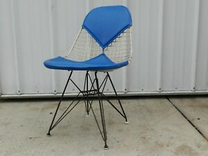 Vtg Mcm 50s Eames Herman Miller Wire Eiffel Tower Base Bikini Chair Blue