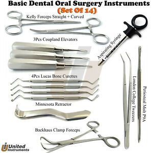 14 Pcs Premium Basic Oral Dental Surgery Surgical Instruments Set Kit