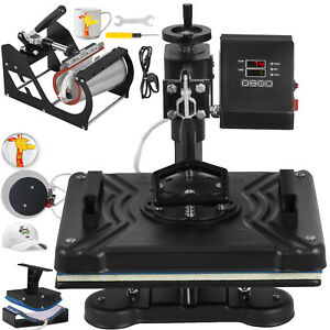 5 In 1 Black Heat Press Transfer Sublimination Machine For T shirt hat mouse Pad