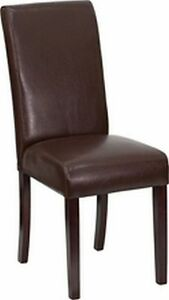 Lot Of 14 Each Brown Or White Or Black Leather Parsons Dining Restaurant Chairs