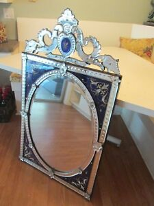 Rare Antique Royal Blue Glass Raised Enamel Heavy Venetian Wall Mirror 27x47