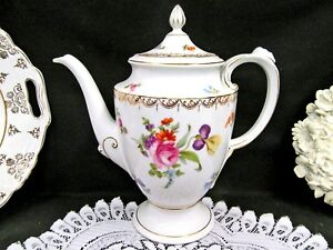 Rosenthal Large Coffee Pot Teapot Dresden Flowers Medusa Face Handle Germany