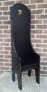 Primitive Country Rustic Handmade 38 Tall Black Doll Hearthside Chair W Star