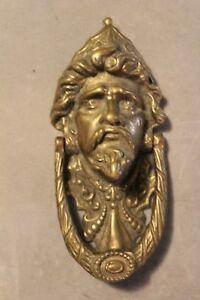 19th Ornate Finest Quality Antique Victorian Heavy Brass Green Man Door Knocker
