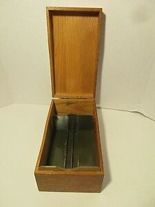Vintage Globe Oak Single Library Card Index File Box