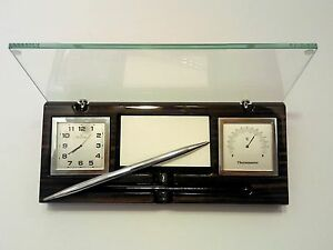 Bulova B2572 Desk Clock Thermometer And Card Holder Pen Tempered Glass Cover