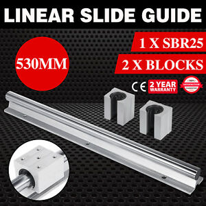 Sbr25 530mm Linear Rail 2x Bearing Blocks Cnc Router Aluminum Alloy Mills Lathes