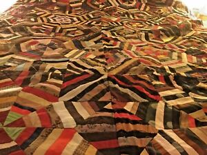 Rare Original Family Victorian Crazy Quilt Top Ready To Be Finished