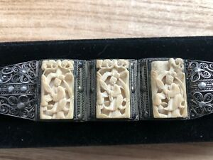 Antique Vintage Chinese Export Silver Filigree Bracelet With Carved Court Lady