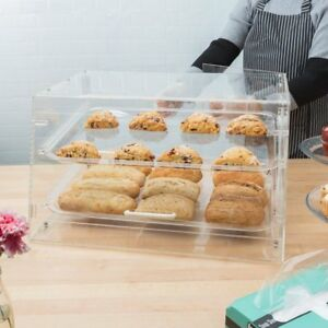 2 Tray Bakery Clear Acrylic Pastry Pastries Display Case With Rear Doors