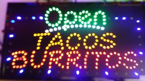 Open Tacos Burritos Neon Led Sign store Sign business Sign window smoke Shop